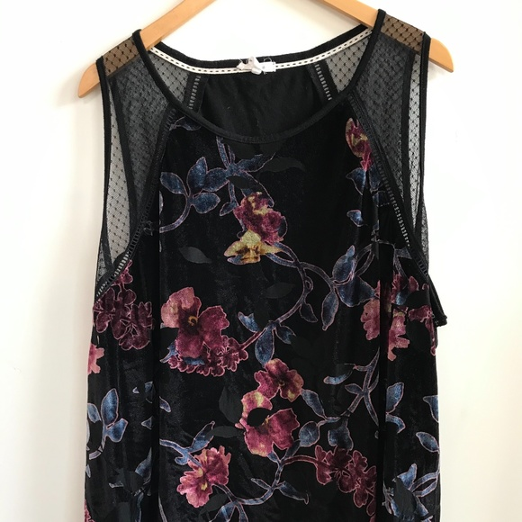 Maurices - Velvet and mesh floral cami - Sz 4x